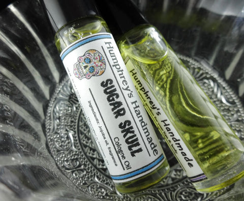 SUGAR SKULL Cologne Oil | Roll On Perfume | Brown Sugar and Vanilla | Day of the Dead | Halloween - Humphrey's Handmade