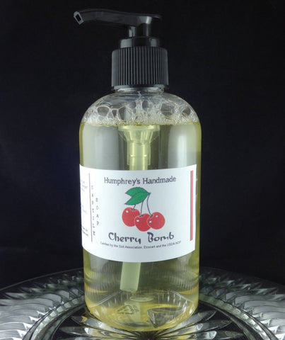 CHERRY BOMB Body Wash | 8 oz | Black Cherry Almond Scent | Women's Castile Soap - Humphrey's Handmade