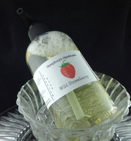 STRAWBERRY Body Wash | 8 oz | Women's Sugared Strawberries Scent Castile Soap - Humphrey's Handmade