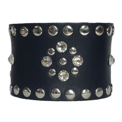Black Leather Crystal Cuff