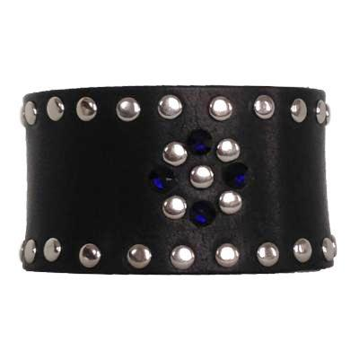 Black and Indigo Leather Crystal Cuff - narrow