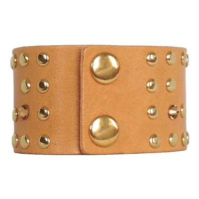 Caramel Rivet Rocker Cuff - narrow