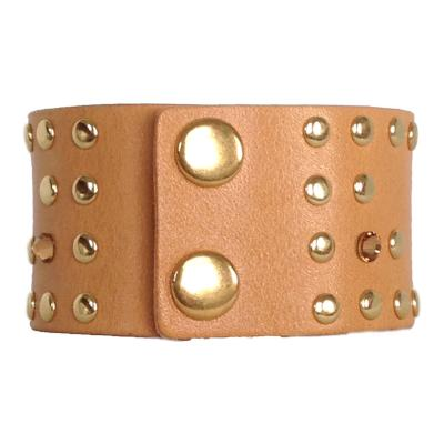 Caramel Leather Crystal Cuff - narrow