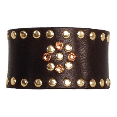 Dark Brown and Topaz Leather Crystal Cuff - narrow