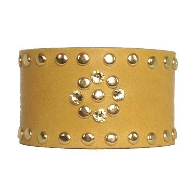 Gold Leather Crystal Cuff - narrow