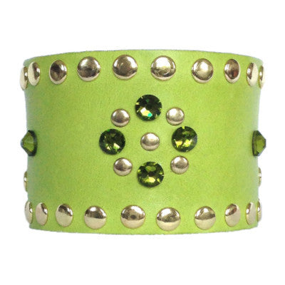 Lime and Olivine Leather Crystal Cuff