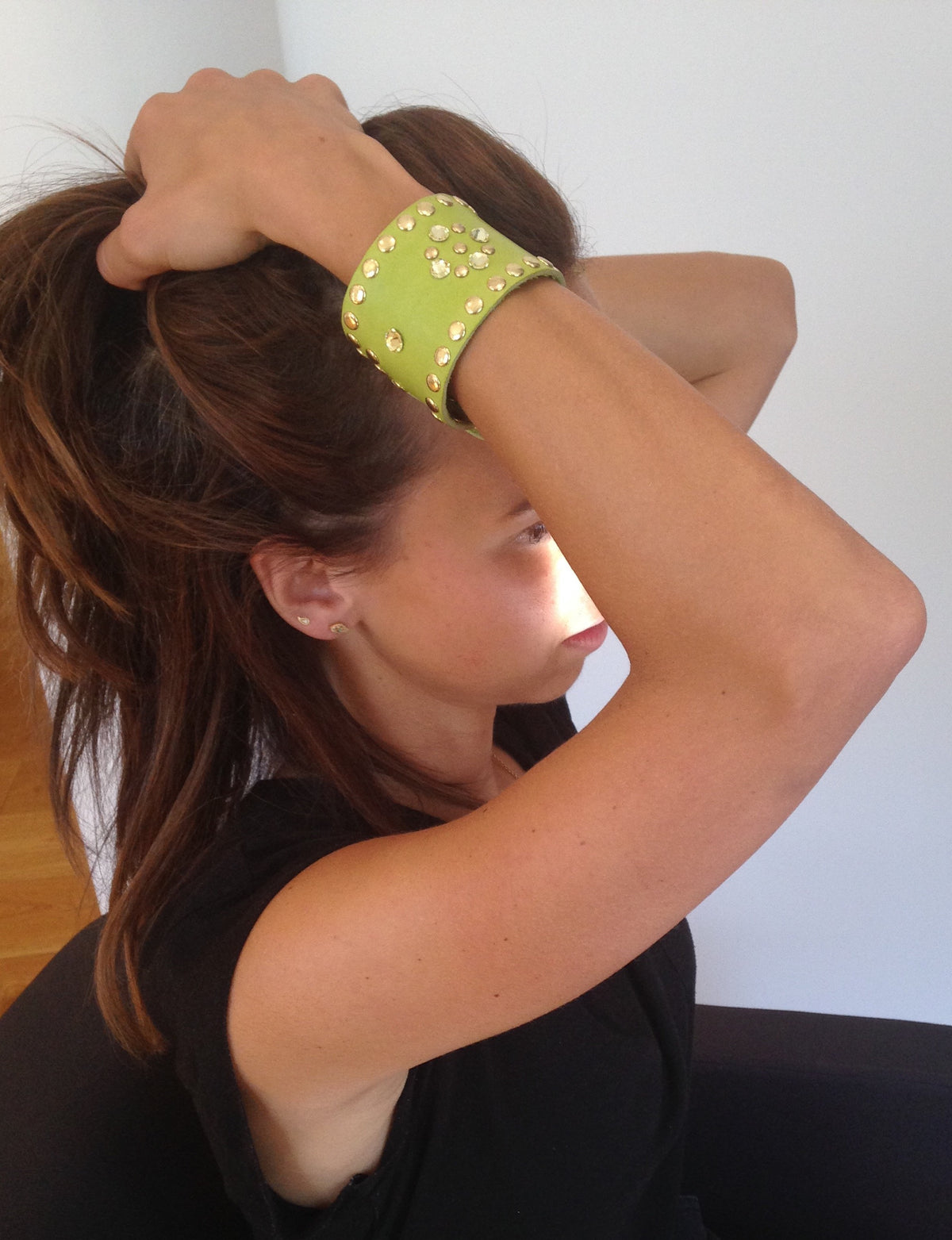 Lime Leather Crystal Cuff