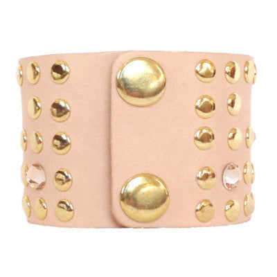 Nude Leather Crystal Cuff - gold