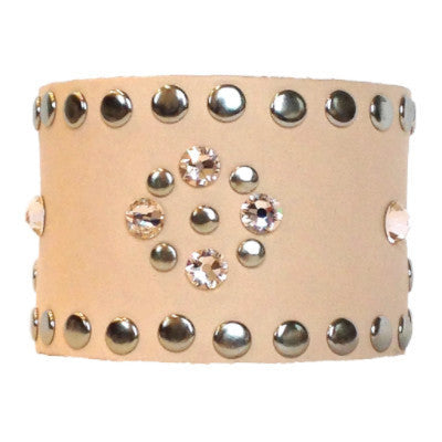 Nude Leather Crystal Cuff - silver