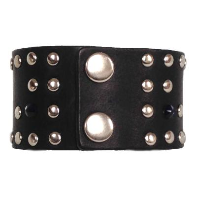 Navy Rivet Rocker Cuff - narrow