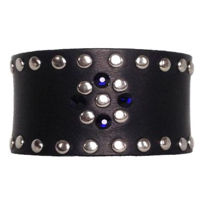 Navy Leather Crystal Cuff - narrow