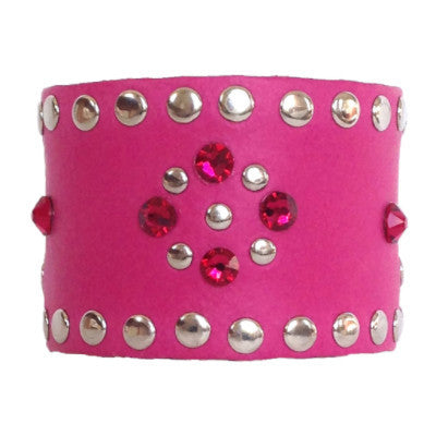 Pink and Ruby Leather Crystal Cuff