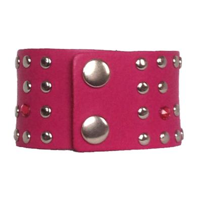 Pink Leather Crystal Cuff - narrow