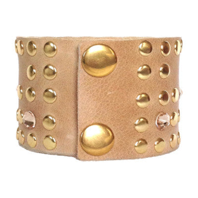 Taupe and Gold Leather Crystal Cuff