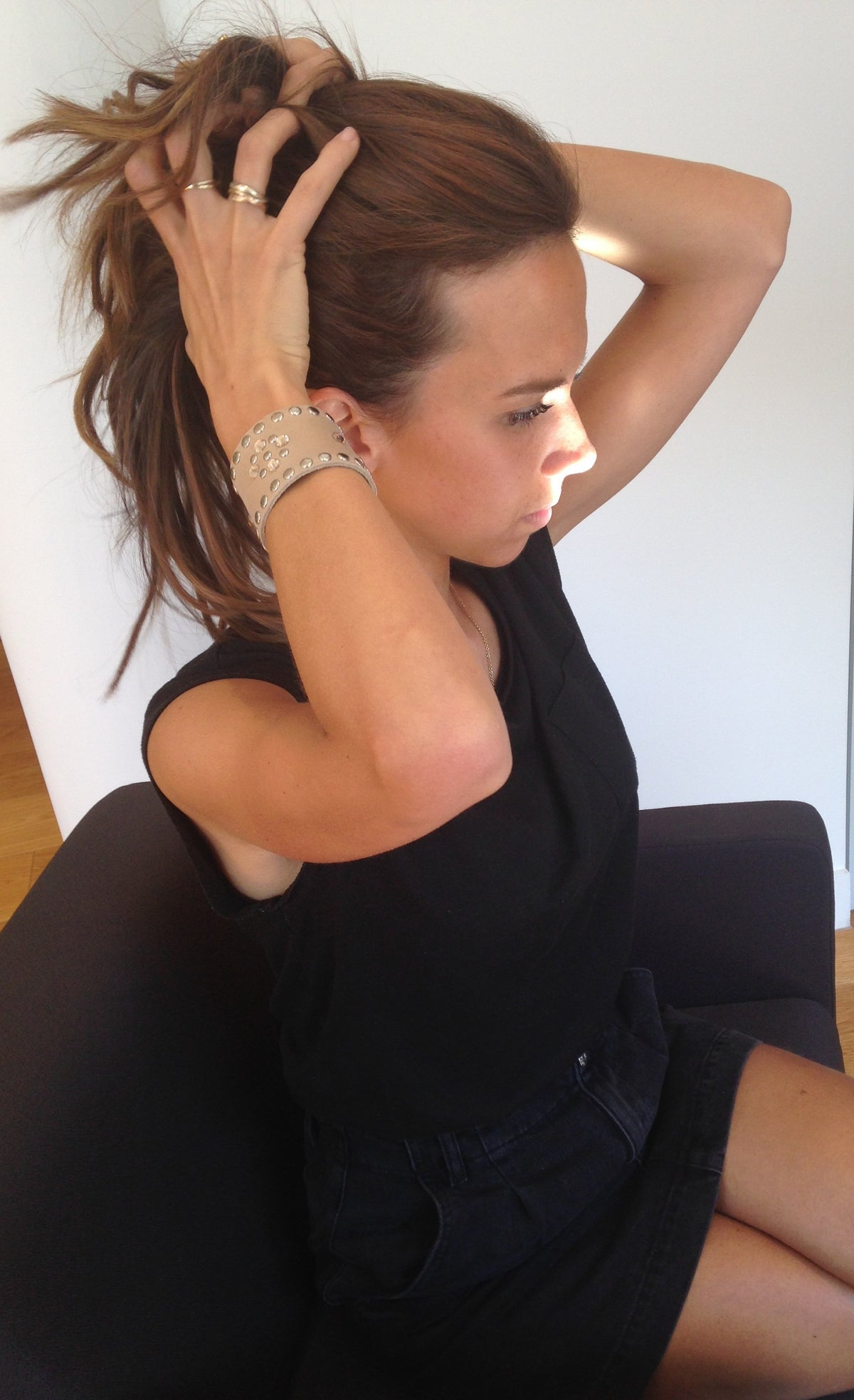 Taupe and Silver Leather Crystal Cuff
