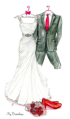 One Year Anniversary Gift - Personal Wedding Dress, Suit, Bouquet & Shoes Sketch
