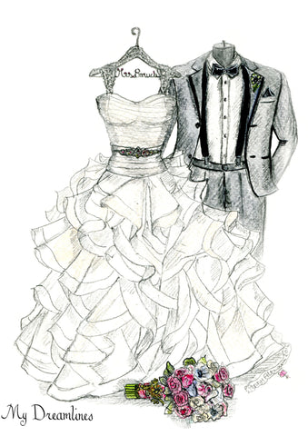One Year Anniversary Gift - Personal Wedding Dress, Suit & Bouquet Sketch