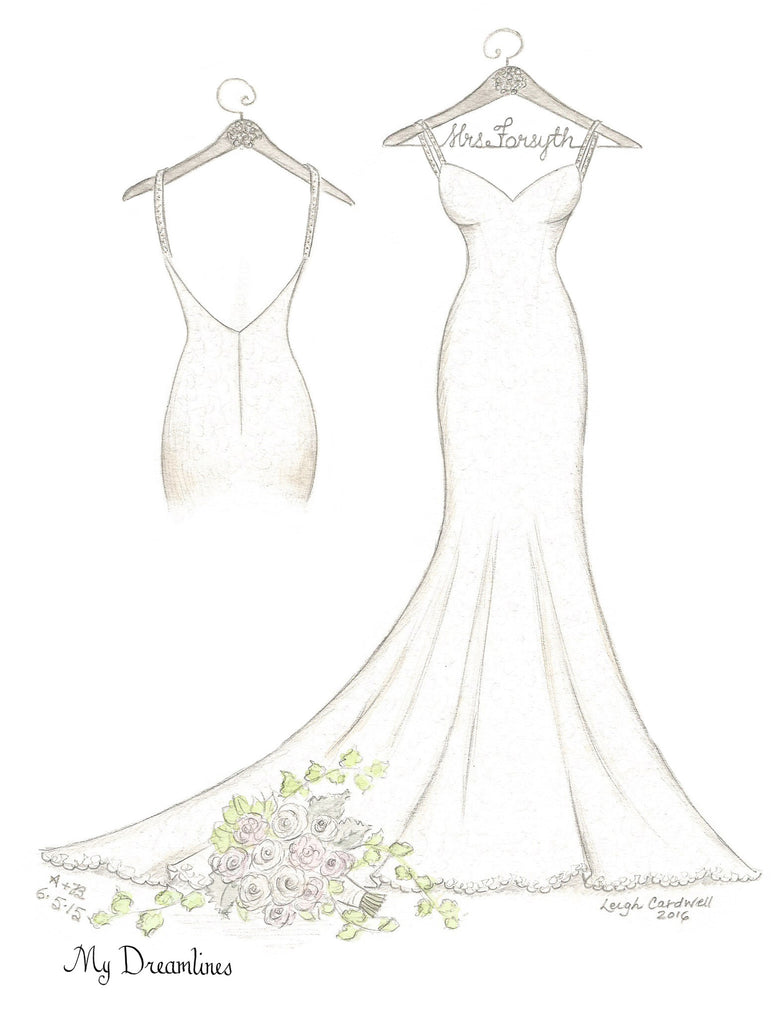 One Year Anniversary Gift - Personal Wedding Dress, Small Back & Bouquet Sketch