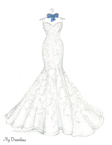 One Year Anniversary Gift - Wedding Dress Sketch