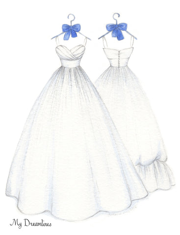 One Year Anniversary Gift - Personal Wedding Dress Front & Back Sketch