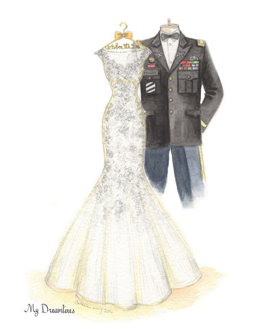 One Year Anniversary Gift - Personal Wedding Dress & Military Uniform Sketch