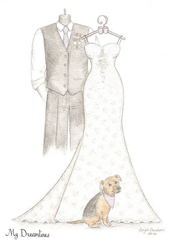 One Year Anniversary Gift - Personal Wedding Dress, Suit & Pet