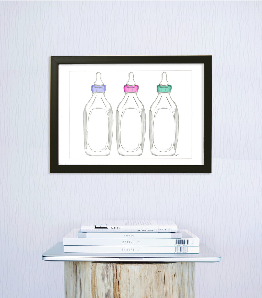woven ink baby bottle art print