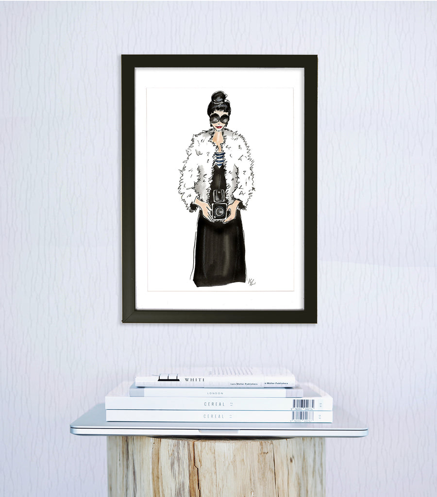 woven ink fashion illustration art print