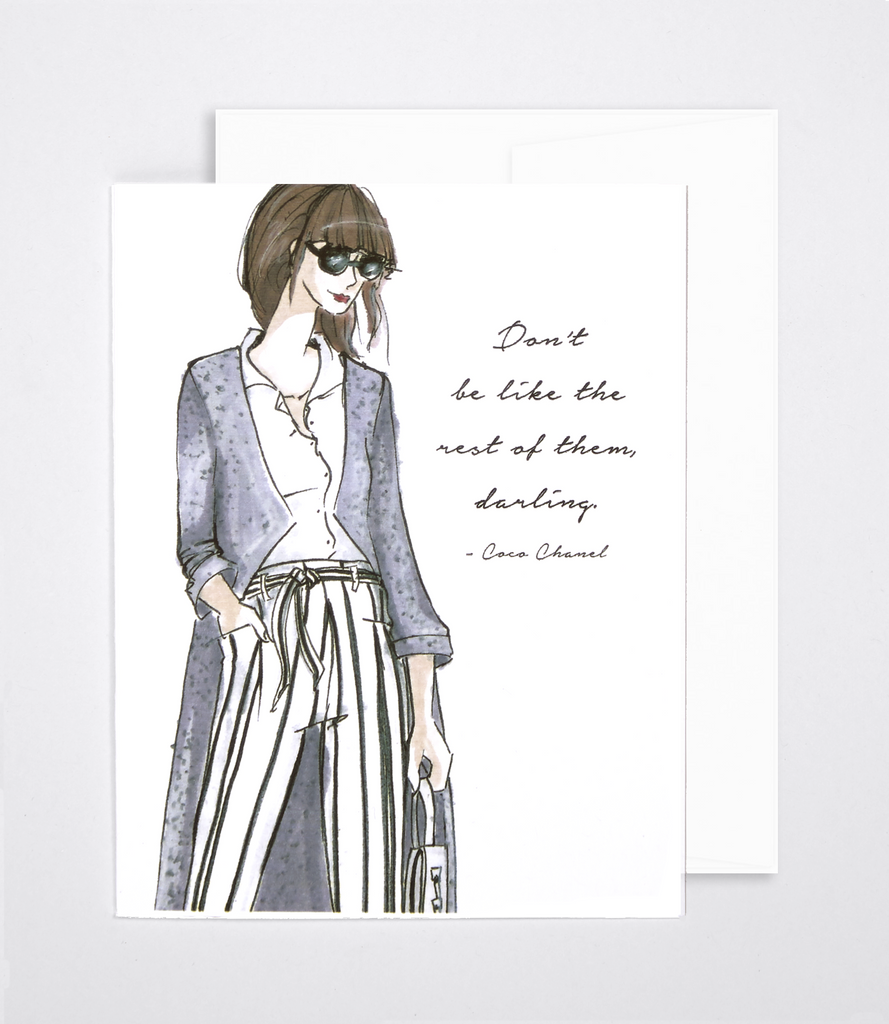 woven ink fashion illustration card chanel