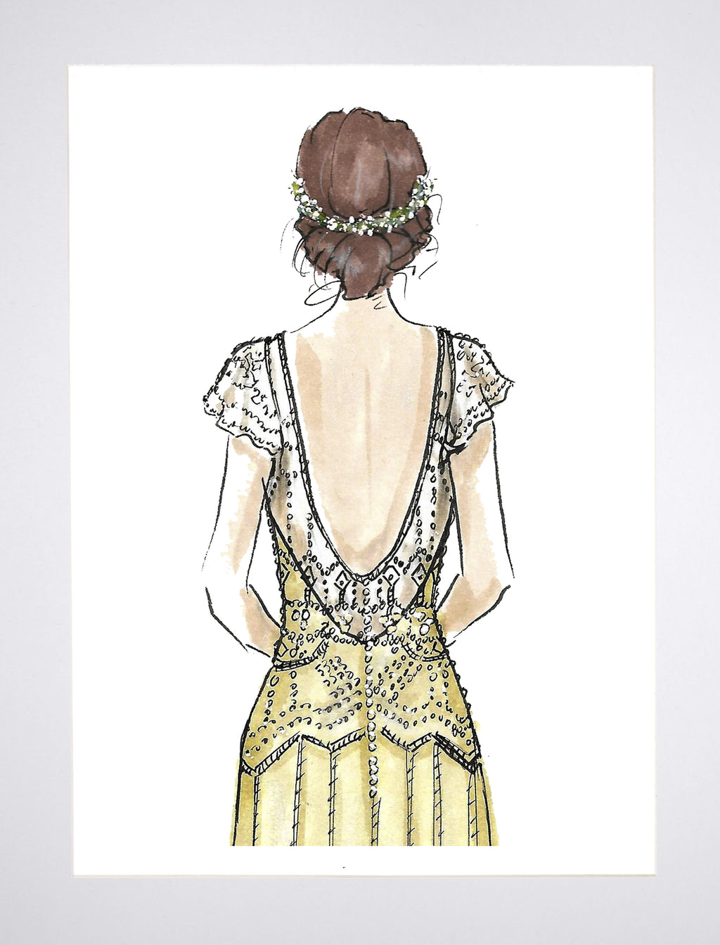 Woven Ink Stationery Illustrated Wedding Art Print Beaded Bride