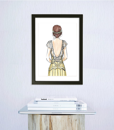 woven ink fashion wedding art print
