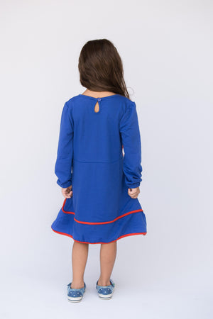 Blue Long Sleeve With Red Flower Dress