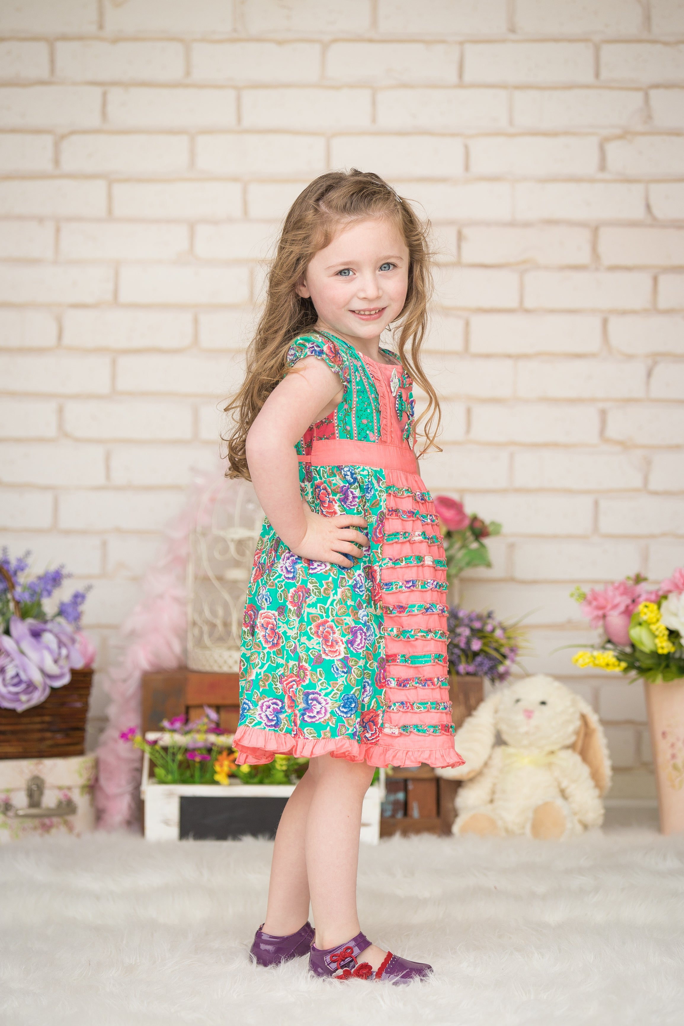 Pink & Green Ruffle Floral Dress