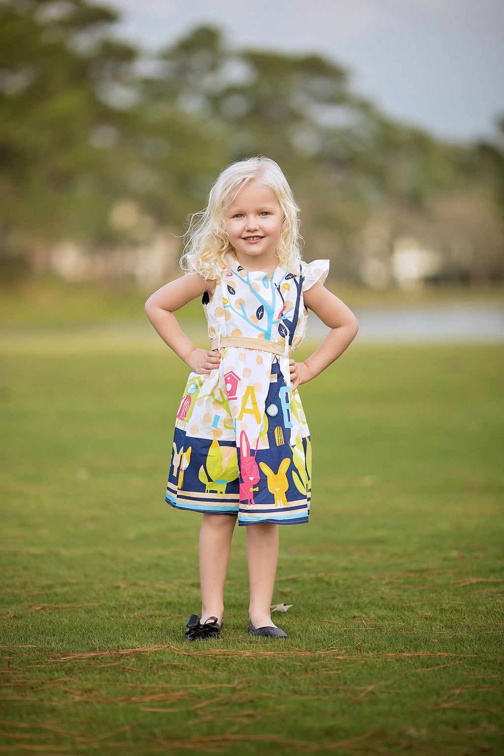 Easter Dress - Multi Blue