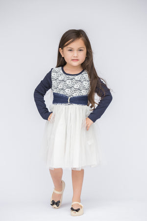 Blue & White Lace-Bodice Dress