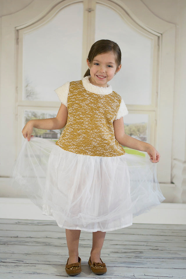Gold & White Knit Lace Cap-Sleeve Dress