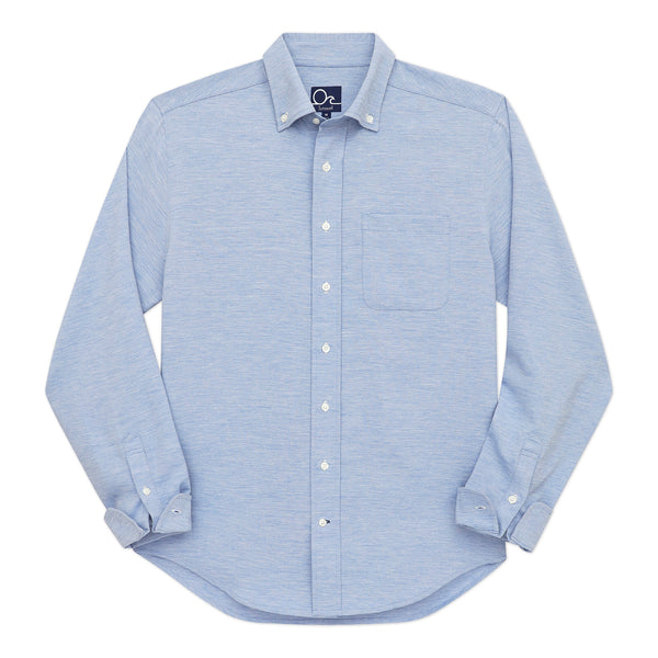 Oyster Chambray Shirt - Heather Blue Long Sleeve