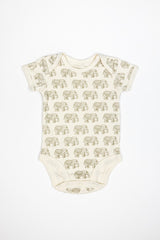 Short Sleeve Bodysuit - Elephant Print