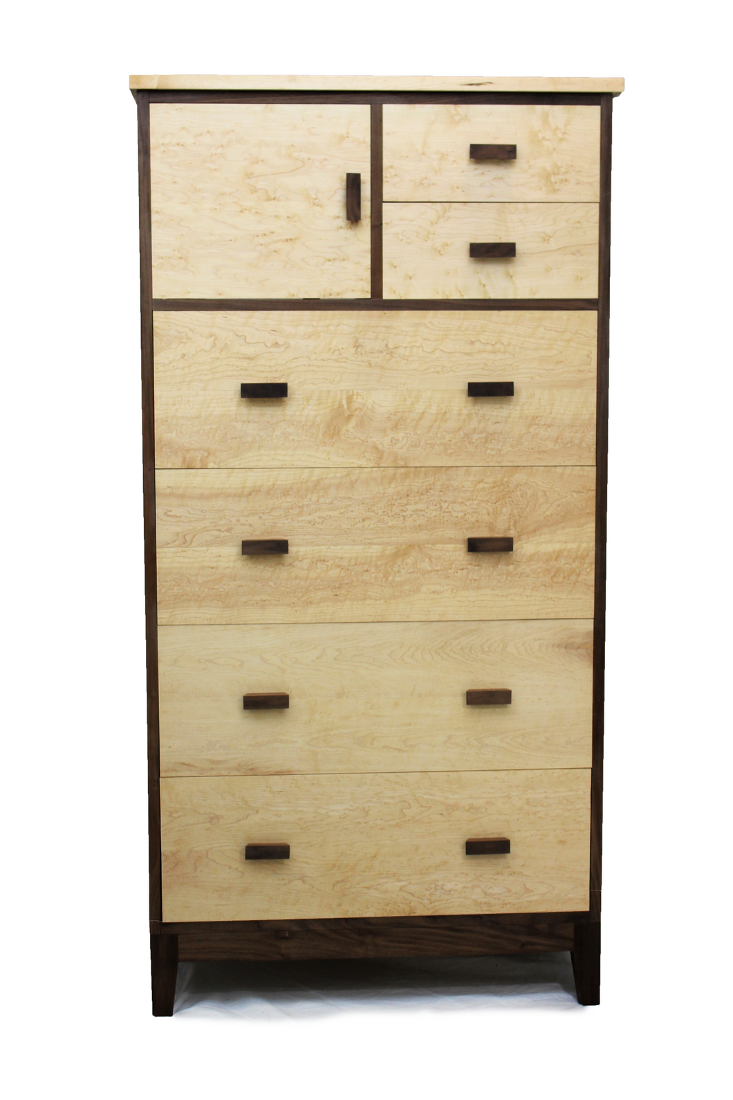Birdseye Maple and Walnut Chest-on-Chest