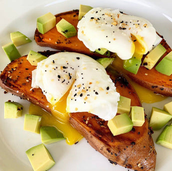 Poached Eggs On Sweet Potato Toast