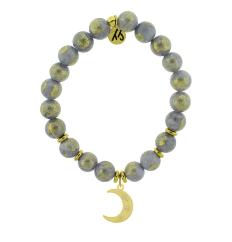 T. Jazelle Golden Grey Jade Friendship Stars Bracelet