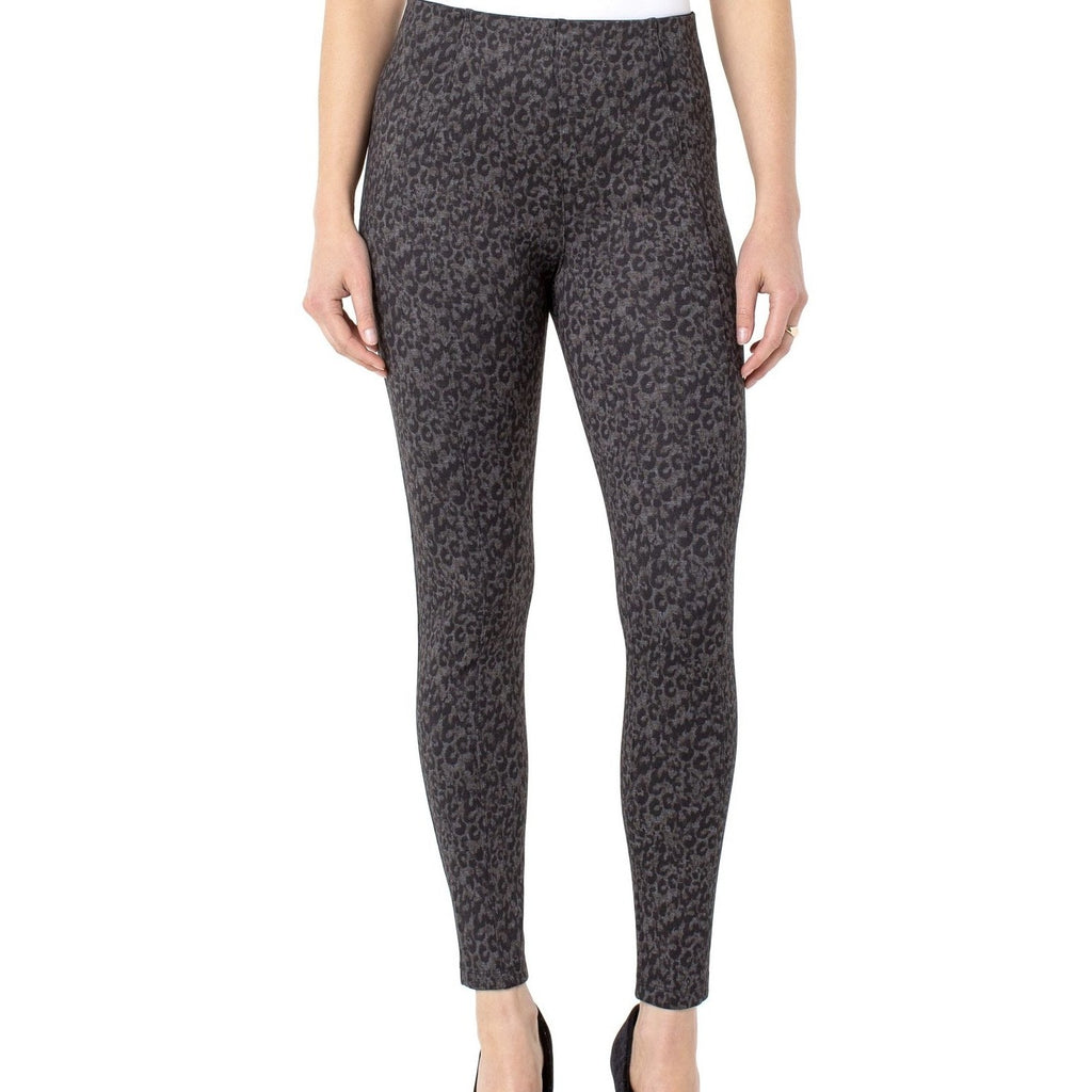 Liverpool Reese Ankle Leggings - Grey / Black Cheetah