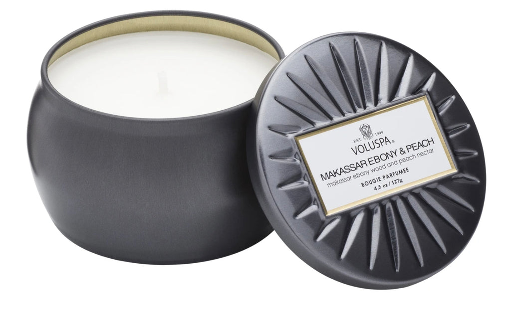 Voluspa Makassar Ebony & Peach Petite Tin Candle
