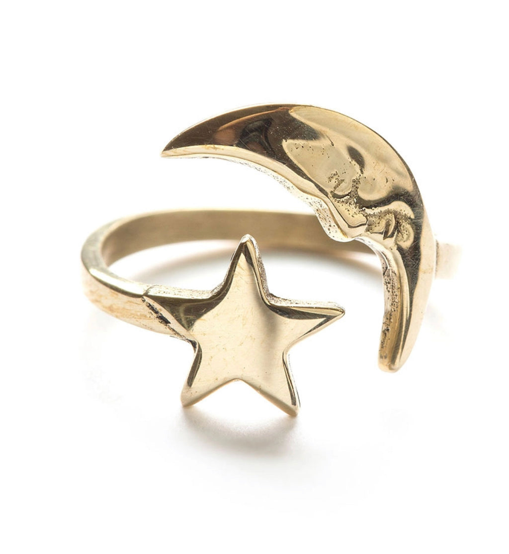 Amano Studio Crescent Moon & Star Ring