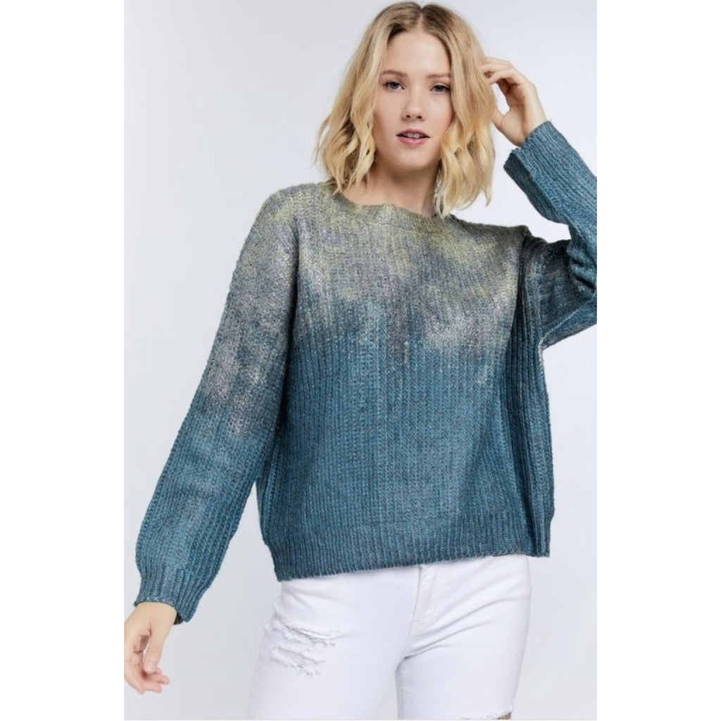 Green Ombré Sparkle & Shine Sweater