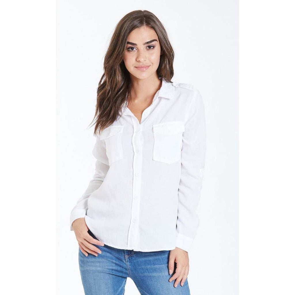 Dear John Denim Allison Stone Washed Button Down White Shirt
