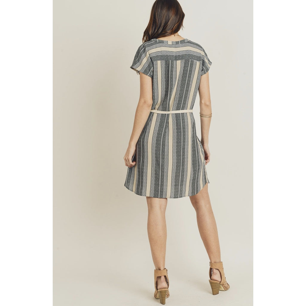 Striped Summer Shirt Dress With Rope Belt