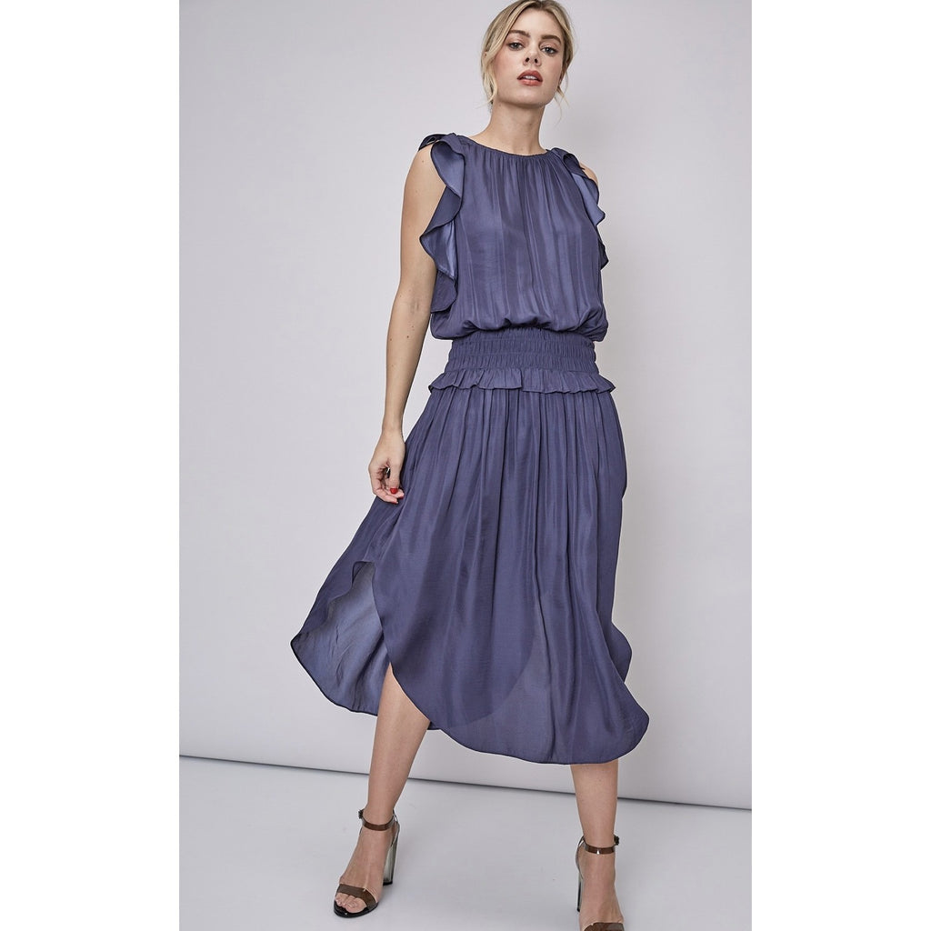 Ibiza Ruffle Midi Dress - Navy