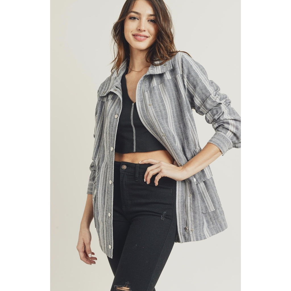 Grey and White Stripe Linen Spring Utility Jacket