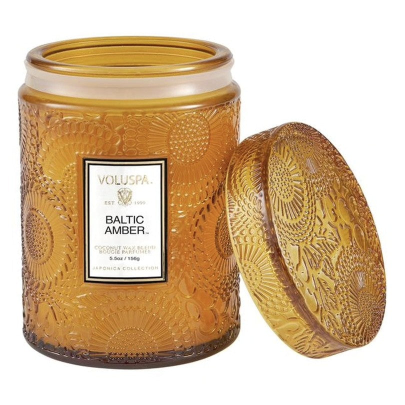 Voluspa  Baltic Amber Embossed Glass Jar Candle